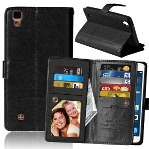 Crazy Horse PU Leather Case with 9 Card Slots for LG X Power K220 K220DS - Black
