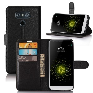 Lychee Skin Leather Wallet Case for LG G6 - Black