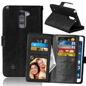 9-slot Crazy Horse Leather Wallet Cover for LG Stylus 2/G Stylo 2 LS775 /Stylus 2 Plus/Stylo 2 - Black