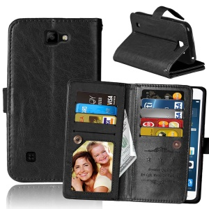 Crazy Horse Leather Wallet Stand Case with 9 Card Slots for LG K3 LS450 - Black