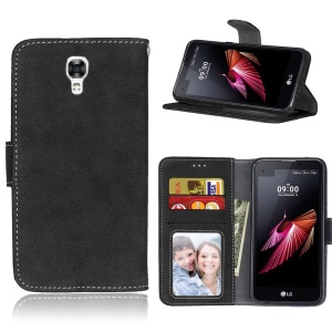 For LG X Screen K500N K500Y Retro Matte Surface Leather Stand Mobile Case - Black