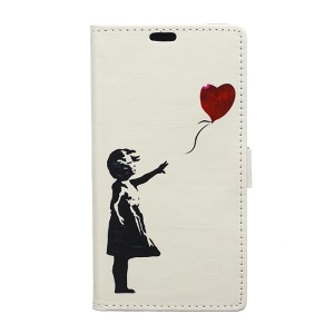 Patterned Leather Card Slots Flip Stand Case for LG K10 (2017) - Girl Releasing Balloon