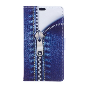 Patterned Phone Accessory Leather Wallet Cover for LG K10 (2017) - Jeans Metal Zipper