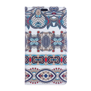 Patterned Leather Wallet Protective Phone Case for LG K10 (2017) - Classic Style Pattern