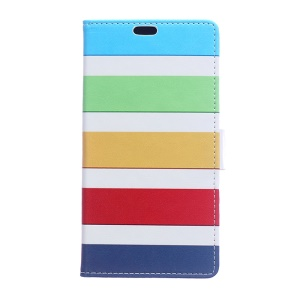 For LG K10 (2017) Printing Pattern Leather Wallet Phone Casing - Colorful Stripes