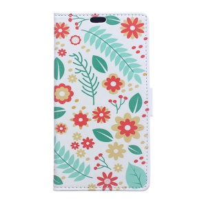For LG K10 (2017) Patterned Leather Wallet Case Stand Cover - Flowers and Leaves