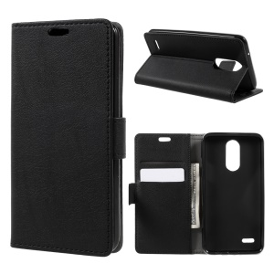 For LG K4 (2017) Flip Stand Wallet PU Leather Case Accessory - Black