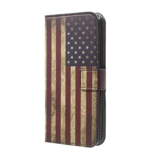 Pattern Printing Wallet PU Leather Phone Cover for LG K4 (2017) - Vintage US Flag