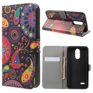 Stand Wallet Patterned Leather Mobile Case for LG K4 (2017) - Paisley Flowers