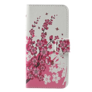Wallet Stand Leather Patterned Mobile Casing for LG K4 (2017) - Plum Blossom