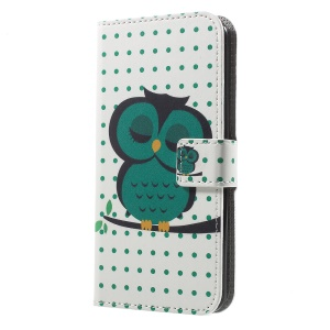 Patterned Wallet Leather Stand Cover for LG K4 (2017) - Owl Sleeping