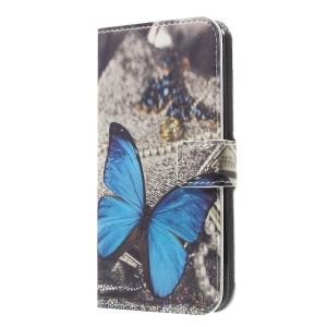 For LG K4 (2017)  Pattern Printing PU Leather Card Holder Stand Case - Blue Butterfly