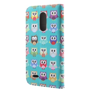 Leather Stand Card Slots Case with Pattern Printing for LG K4 (2017) - Cute Mini Owls