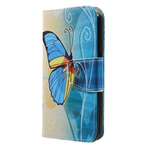 Printing Pattern Leather Wallet Case for LG K4 (2017) - Blue Butterfly