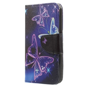 Pattern Printing Leather Wallet Cover Mobile Accessory for LG K4 (2017) - Vivid Butterflies