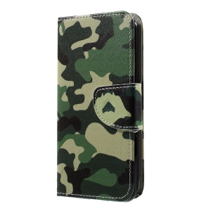 Pattern Printing Leather Folio Case with Card Slots for LG K4 (2017) - Camouflage Pattern