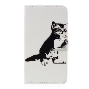 Pattern Printing Leather Wallet Cover for LG G6 - Black and White Cat
