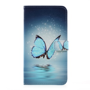 Pattern Printing Leather Card Holder Case for LG G6 - Blue Butterfly