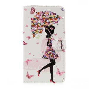 Pattern Printing PU Leather Wallet Case for LG G6 - Flowered Girl Holding Umbrella
