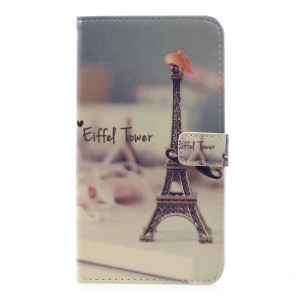 Pattern Printing Leather Stand Case with Card Slots for LG G6 - Eiffel Tower and Mustache
