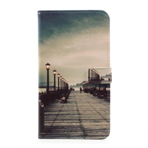Pattern Printing Leather Wallet Case Accessory for LG G6 - Dock at Sunset