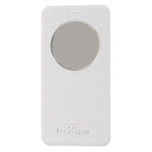 For LG X Style Textured View Window Smart Leather Cell Phone Cover - White