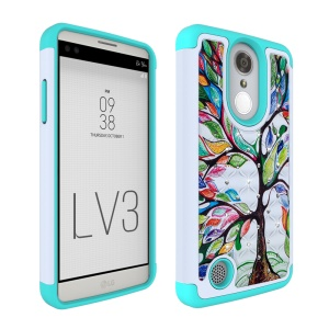 For LG Aristo MS210 (LV3) Starry Sky Rhinestone Patterned PC + Silicone Mobile Cover - Colorful Tree