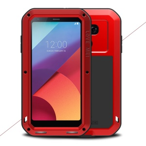 LOVE MEI Powerful Shockproof Drop-proof Dust-proof Cover for LG G6 (Metal + Silicone + Tempered Glass) - Red