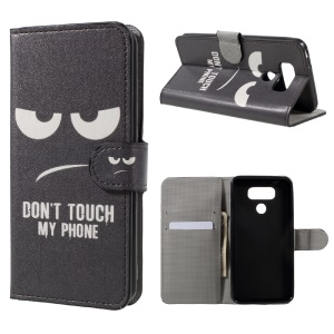Patterned Leather Wallet Case Cover for LG G6 - Do Not Touch My Phone