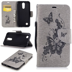 Imprinted Butterflies Flowers Leather Wallet Case Stand for LG K10 (2017)- Grey