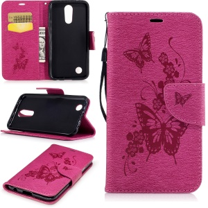 Butterflies Flowers Imprinted Pattern Leather Wallet Mobile Case with Strap for LG K10 (2017) - Rose