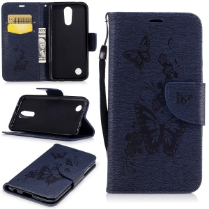 Imprinted Butterflies Flowers Leather Wallet Stand Cover with Lanyard for LG K10 (2017) - Dark Blue