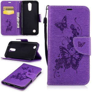 Butterflies Flowers Imprinted Pattern Leather Wallet Phone Shell with Strap for LG K10 (2017) - Purple