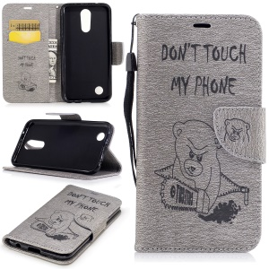For LG K10 (2017) Imprinted Bear Warning Words Pattern Leather Wallet Protective Case - Grey