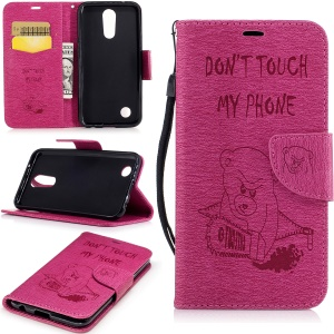 Bear Warning Words Imprinted Pattern Leather Wallet Phone Shell for LG K10 (2017) - Rose