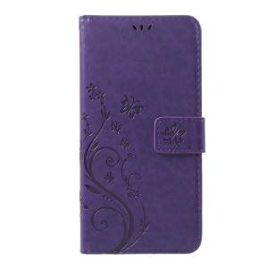Leather Imprinted Flower Butterfly Wallet Phone Accessory for LG V20 - Dark Purple