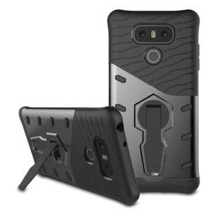 360-Degree Rotary Kickstand Armor PC + TPU Mobile Phone Case for LG G6 - Grey