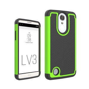 Football Grain Hybrid PC + Silicone Mobile Cover for LG Aristo MS210 (LV3) US Version - Green