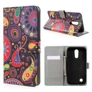 Patterned Leather Wallet Stand Case for LG K10 (2017) - Paisley Flowers