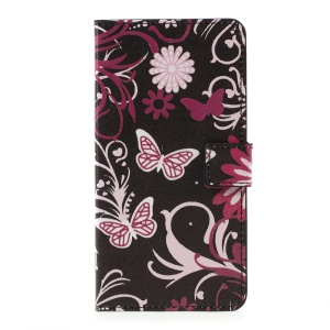 Wallet Patterned Leather Stand Phone Case for LG K10 (2017) - Floral Butterfly