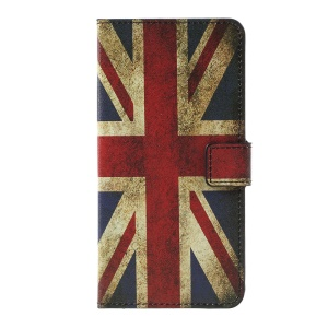 Flip Stand Patterned Leather Wallet Cover for LG K10 (2017) - Retro Union Jack Flag