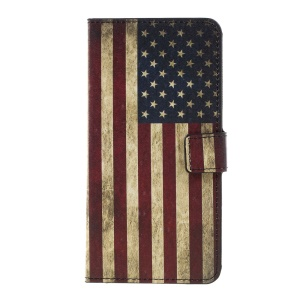 Stand Wallet Leather Case Accessory for LG K10 (2017) - Vintage US Flag