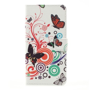 Stand Wallet Patterned Leather Mobile Shell for LG K10 (2017) - Butterflies and Circles
