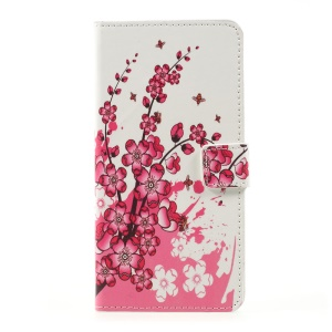 Patterned Wallet Leather Case with Stand for LG K10 (2017) - Plum Blossom