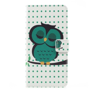 Patterned Stand Wallet Leather Shell for LG K10 (2017) - Napping Owl
