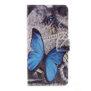 Mobile Accessory Patterned Leather Wallet Stand Case for LG K10 (2017) - Blue Butterfly
