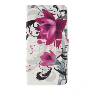 Pattern Printing Leather Wallet Stand Cell Phone Shell for LG K10 (2017) - Purple Flowers