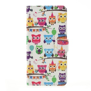 Patterned Flip PU Leather Wallet Stand Cover for LG K10 (2017) - Lovely Little Owls