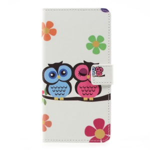 Patterned Leather Wallet Stand Mobile Phone Shell for LG K10 (2017) - Owl Lovers
