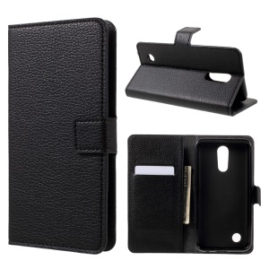 Litchi Skin Leather Wallet Stand Cell Phone Case for LG K10 (2017) - Black